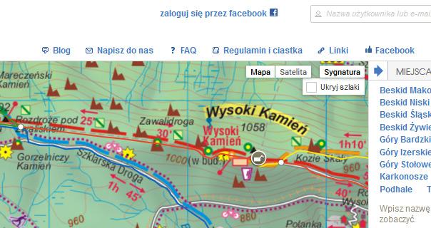 Kontrolki dla warstw znajdują się w prawym górny rogu mapy