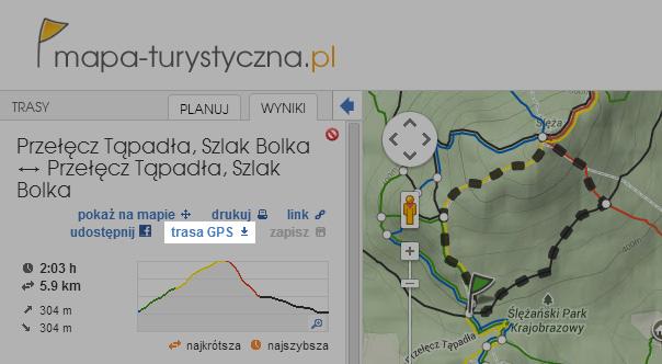 Zapisz trasę ułożoną na naszej mapie (format .gpx)