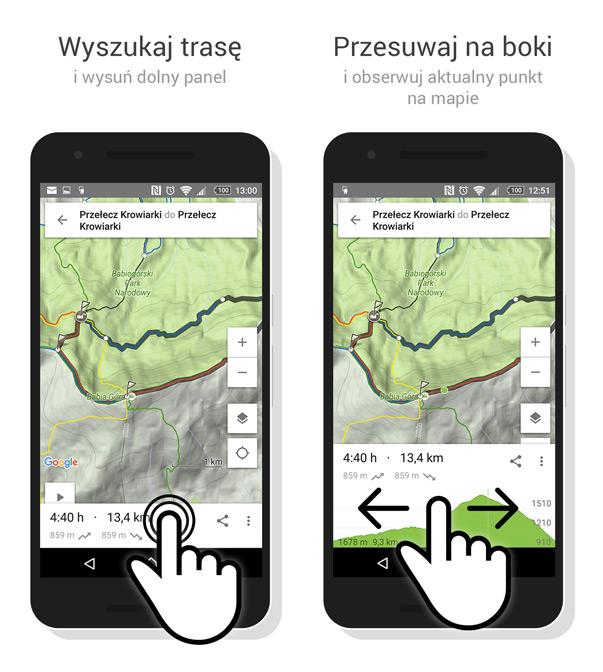 Profil wysokości trasy - interakcja