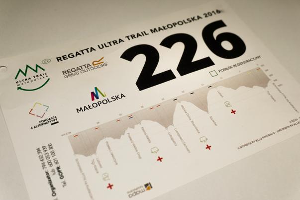 Profil wysokościowy trasy na numerach startowych biegów Małopolska Ultra Trail