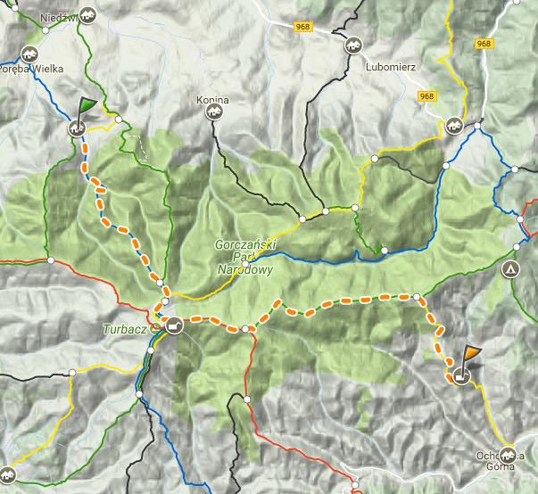 Ślad nagranej trasy na mapie